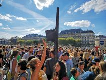 Climate walk. Ecology. Paris. Crowd. Save the planet royalty free stock photo