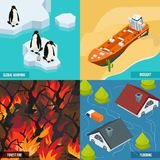 Climate Warming Isometric Design Concept. With ice melting, ship in desert, forest fires, flood isolated vector illustration Royalty Free Stock Images