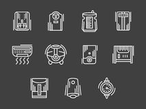 Climatic appliances white simple line icons. Appliances and equipment for regulation of house climate. Air conditioners, heating, purification. Set of white Royalty Free Stock Photography