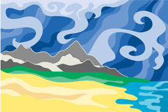 Climatic changes vector. Natural landscape, showing unpredictable weather and climatic changes - stormy sky and desert coast Stock Image