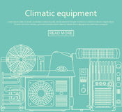 Climatic equipment concept made of outlined icons. Vector illustration Stock Photo