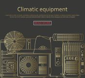 Climatic equipment concept made of outlined icons. Vector illustration Royalty Free Stock Photos