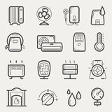 Climatic equipment icons. Vector climatic equipment icon set in line style Stock Images