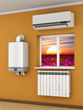 The climatic equipment. Climatic equipment on the wall near a window Stock Image