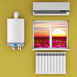 The climatic equipment. Climatic equipment on the wall near a window Stock Photography