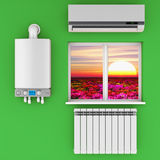 The climatic equipment. Climatic equipment on the wall near a window Stock Images