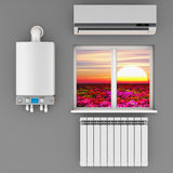 The climatic equipment. Climatic equipment on the wall near a window.3D render Royalty Free Stock Photography