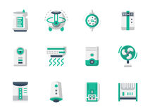 Climatic technics flat design icons set. Equipment and appliances for heating and conditioning of home or office space. Air purification and ionizing. Home Stock Images
