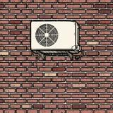 Climatisation sur le mur de briques extérieur de la maison illustration libre de droits