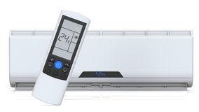 Climatiseur fendu de système et contrôleur à distance 3D rendent, d'isolement sur le fond blanc Image stock