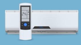 Climatiseur fendu de système Système de contrôle de climat frais et froid Traitement réaliste avec le contrôleur à distance 3d Photographie stock