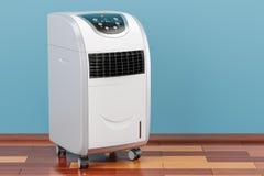 Climatiseur portatif dans la chambre sur le plancher en bois, renderi 3D Images stock