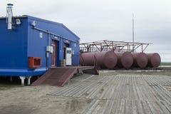 Climatological station på den Samoilovsky ön i deltan av Lena River Royaltyfria Foton
