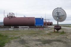 Climatological station på den Samoilovsky ön i deltan av Lena River Arkivfoton