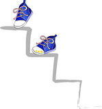 Climb in blue. Two blue shoes climb a ladder, vector Royalty Free Stock Images