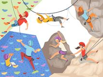 Climb characters. Extreme sport cliff wall rocks and stones big rocky hills and mountains explore vector sportsmen male vector illustration