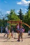 Climb equipment at a playground royalty free stock image