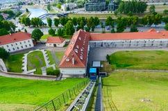Climb of funicular to Castle Mountain (Mount Gediminas), Vilnius Stock Images