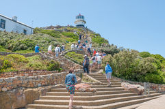 Climb from funicular to historic lighthouse at Cape Point Stock Image