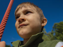 Climb and jump. Close up of a child Stock Images