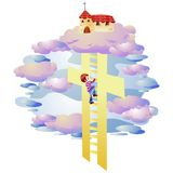 Climb ladder. Climb to the church by the ladder Stock Photos