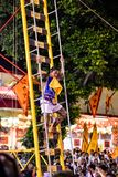 Climb the ladder knife in Phuket Vegetarian Festival. royalty free stock photo