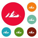 Climb on mountain icons circle set vector. Isolated on white background Stock Images