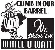 Climb In Our Barrel. Retro Ad Art Banner vector illustration