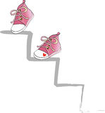 Climb in pink. Two pink shoes climb a ladder, vector Royalty Free Stock Image