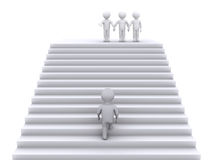 Climb the stairs to join the team. 3d person climbing stairs to join three people waiting at the top Royalty Free Stock Photos