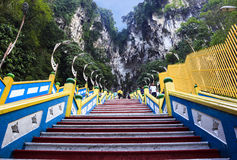 Climb to Batu cave on mountain Stock Photos
