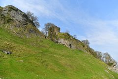 Peak District UK, old historic Peveril Castle, climb. A climb to the castle at the top of the hill to enjoy the breathtaking views over the Hope Valley is a Stock Image