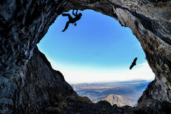 Climb to the cave Royalty Free Stock Images