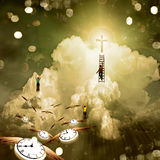 Climb to Enlightenment. Figures climb toward cross in sky Stock Photos