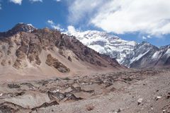 Trekking in Aconcagua National Park. Argentina. Climb to Plaza Francia balcony, below Aconcagua south face Royalty Free Stock Photography