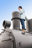 Climbed up on locomotive Stock Photos