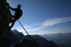 Climber. Extreme sport - silhouette of a climber stock image