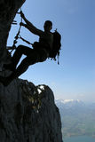 Climber. Extreme sport - silhouette of a climber royalty free stock image