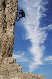 Climber. Silhouette on the rock Royalty Free Stock Photos