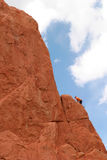Climber. Climbing on red rock Royalty Free Stock Photo