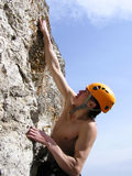 Climber. A male rock-climber on training Stock Photography