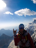 Climber. On mountain peak. After 3 week on Caucasus Stock Photos