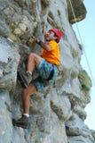 Climber. On a rock wall (Carpathian mountains Royalty Free Stock Photo