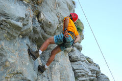 Climber. On a rock wall (Carpathian mountains Royalty Free Stock Image