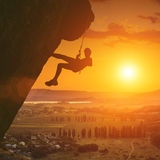 Climber above the Crimea valley Royalty Free Stock Images