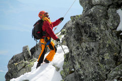 Climber on alpinist route Royalty Free Stock Images
