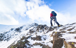A climber ascending a snow covered ridge Royalty Free Stock Image