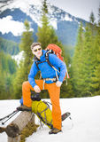 Climber with backpack. Royalty Free Stock Photos