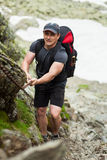 Climber with backpack Royalty Free Stock Photo