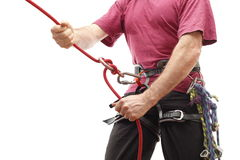Climber belay Stock Photography